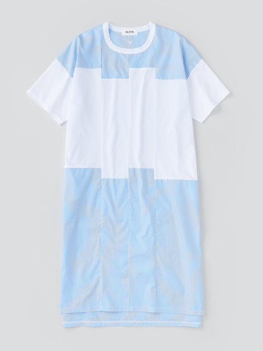 ALOYE Shirt Fabrics Women's Short Sleeve T-shirt Dress Light Blue Stripe-White