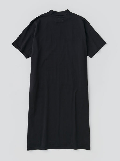 ALOYE Shirt Fabrics Women's High Neck T-shirt Dress Black-Navy fine stripe