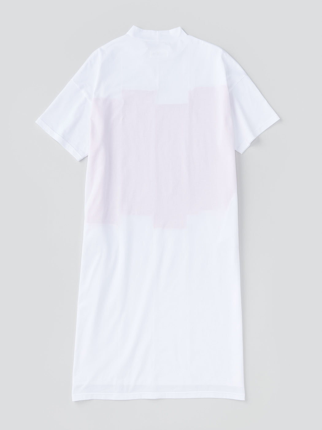 ALOYE Color Blocks Women's High Neck T-shirt Dress White-Orange Rectangles