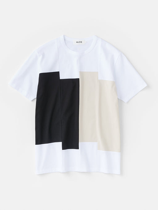 ALOYE Color Blocks Men's Short Sleeve T-shirt Black-Beige Rectangles