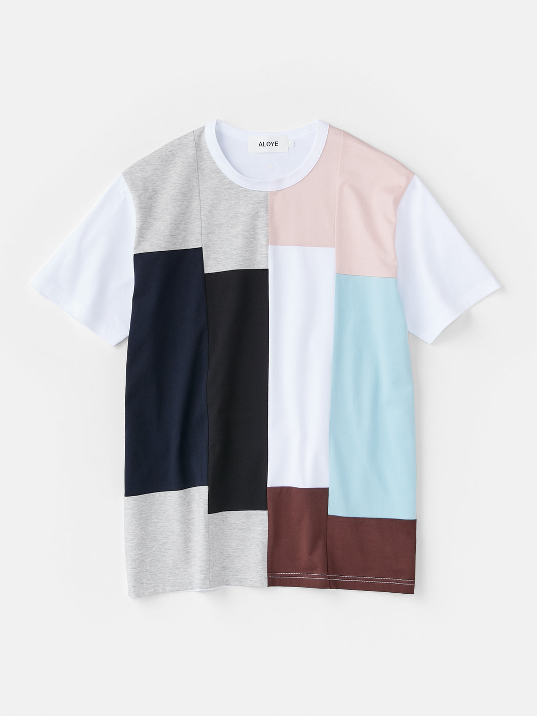 ALOYE Color Blocks Men's Short Sleeve T-shirt Heather Gray-Pink Rectangles