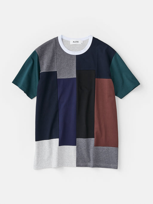 ALOYE Color Blocks Men's Short Sleeve T-shirt Navy-Green Rectangles