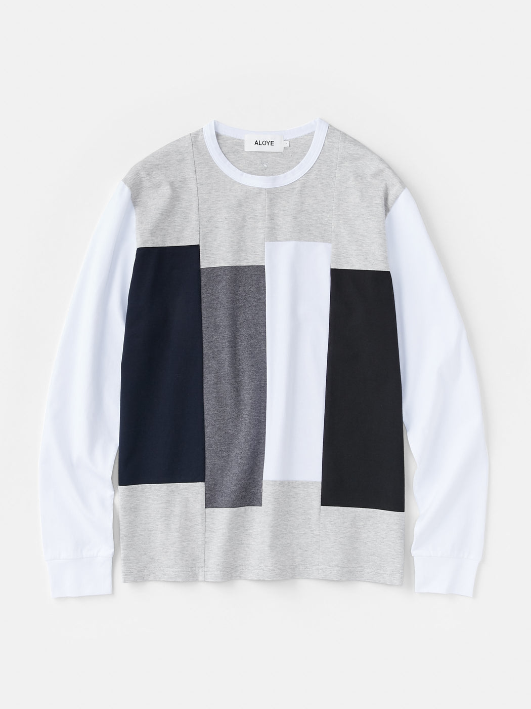 ALOYE Color Blocks Men's Long Sleeve T-shirt Heather Gray-White Rectangles