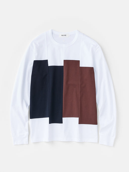 ALOYE Color Blocks Men's Long Sleeve T-shirt Navy-Brown Rectangles