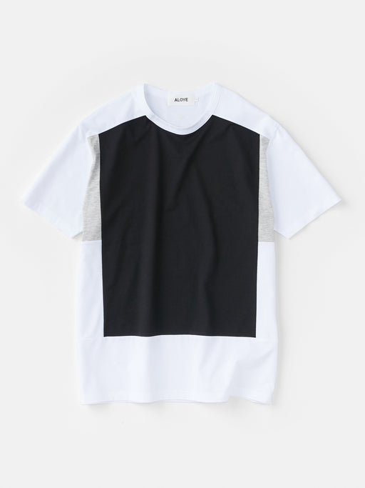 ALOYE Color Blocks Men's Short Sleeve T-shirt White-Black
