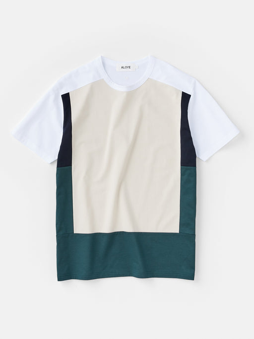 ALOYE Color Blocks Men's Short Sleeve T-shirt Beige-Green