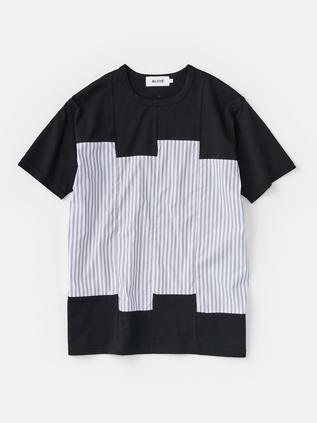 ALOYE Shirt Fabrics Men's Short Sleeve T-shirt Black-Fine Stripe