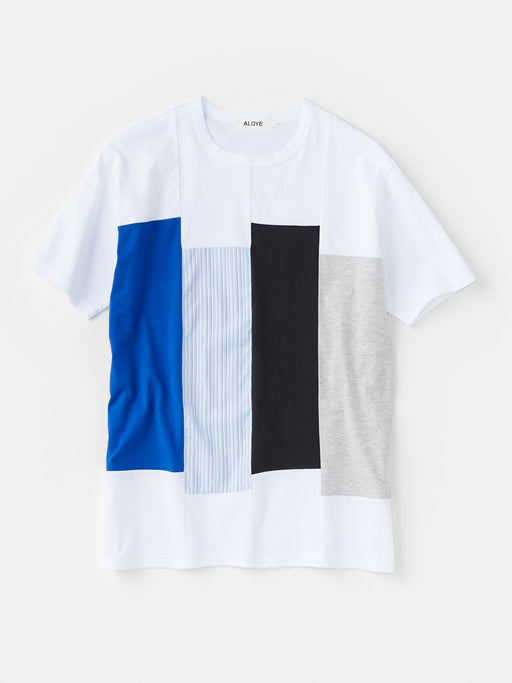 ALOYE Shirt Fabrics Men's Short Sleeve T-shirt White-Blue Stripe Rectangles