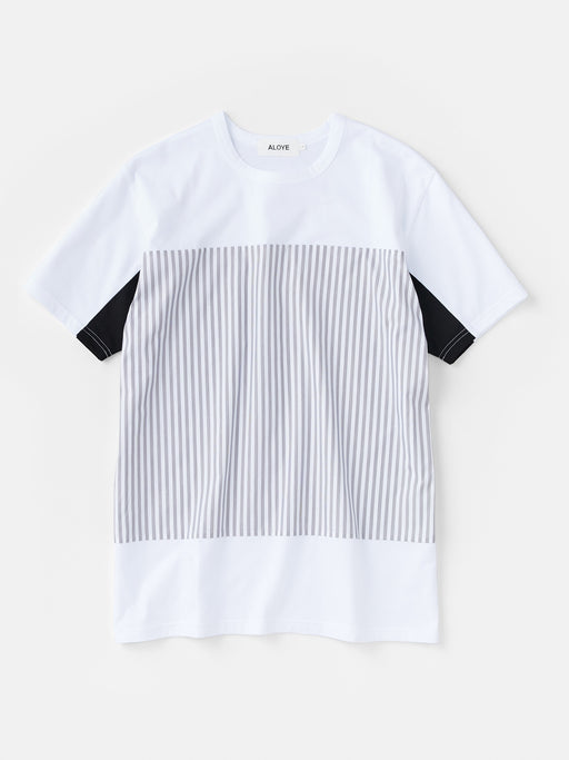 ALOYE Shirt Fabrics Men's Short Sleeve T-shirt White-Fine Stripe