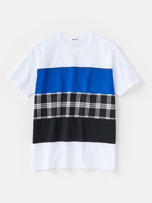 ALOYE Shirt Fabrics Men's Short Sleeve T-shirt White-Black Plaid