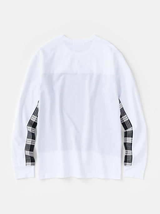 ALOYE Shirt Fabrics Men's Long Sleeve T-shirt White-Black Plaid