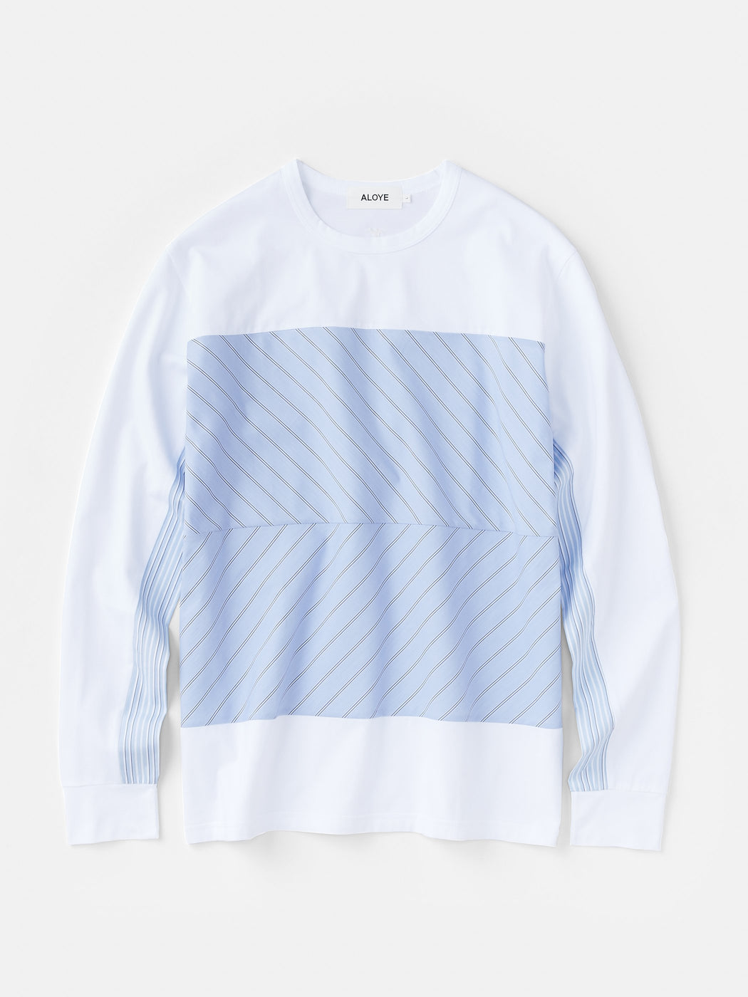 ALOYE Shirt Fabrics Men's Long Sleeve T-shirt White-Blue Stripe