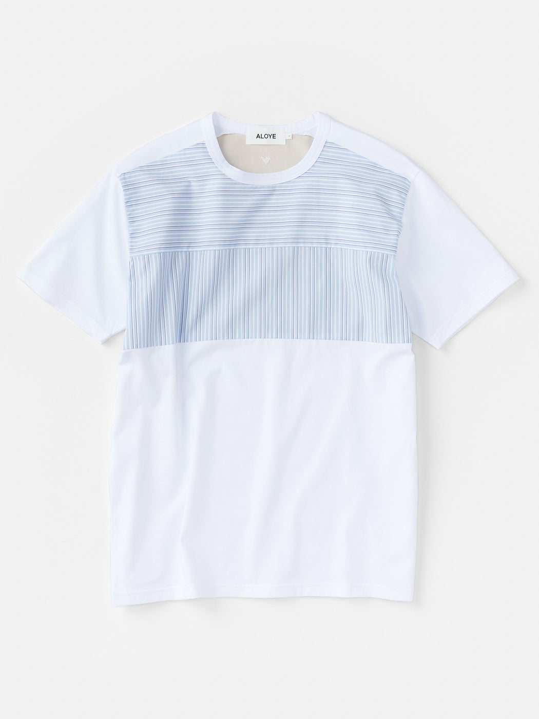 ALOYE Shirt Fabrics Men's Short Sleeve T-shirt White-Blue Stripe