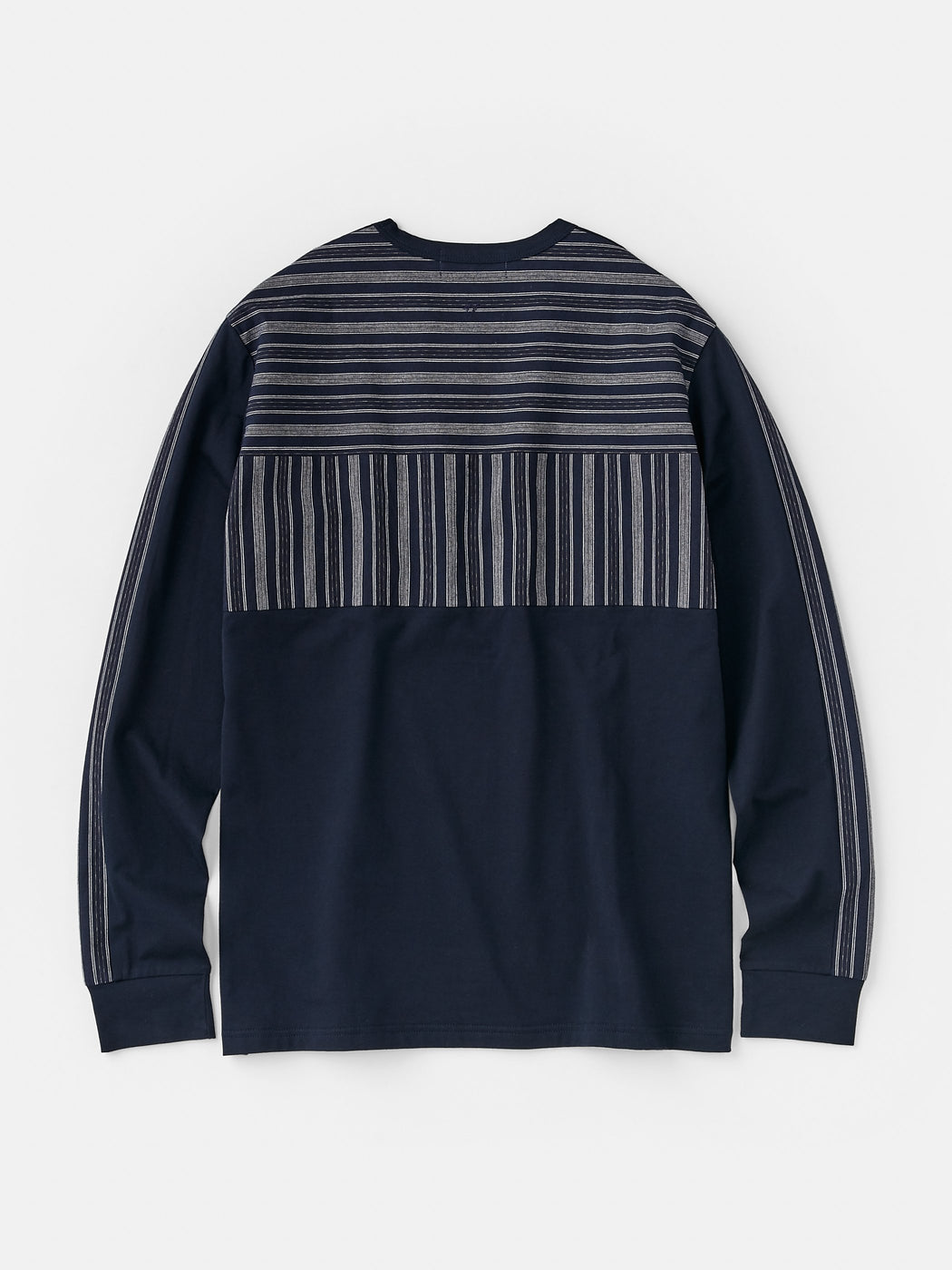ALOYE Kamedajima Fabrics Men's Long Sleeve T-shirt Navy-Kamedajima Stripe