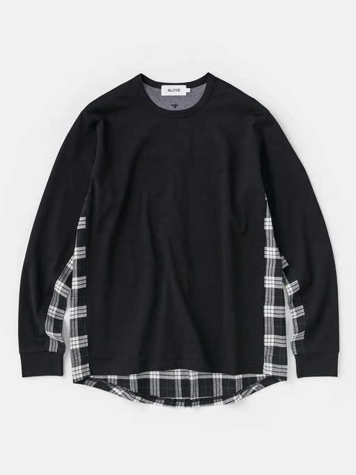 ALOYE Shirt Fabrics Men's Long Sleeve T-shirt Black-Black Plaid