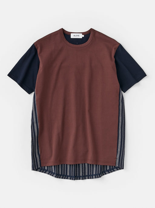 ALOYE Kamedajima Fabrics Men's Short Sleeve T-shirt Brown-Kamedajima Stripe