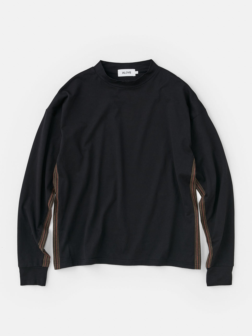 ALOYE Kamedajima Fabrics Men's High Neck Long Sleeve T-shirt Black-Kamedajima Stripe