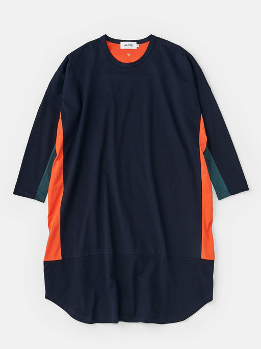 ALOYE Color Blocks Women's Long Sleeve Wide T-shirt Dress Navy-Orange