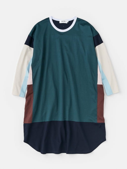 ALOYE Color Blocks Women's Long Sleeve Wide T-shirt Dress Dark Green-Pink