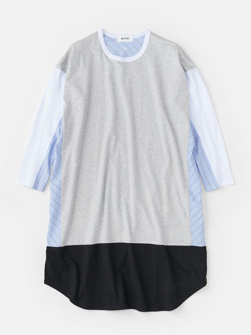 ALOYE Shirt Fabrics Women's Long Sleeve Wide T-shirt Dress Heather Gray-Blue Stripe