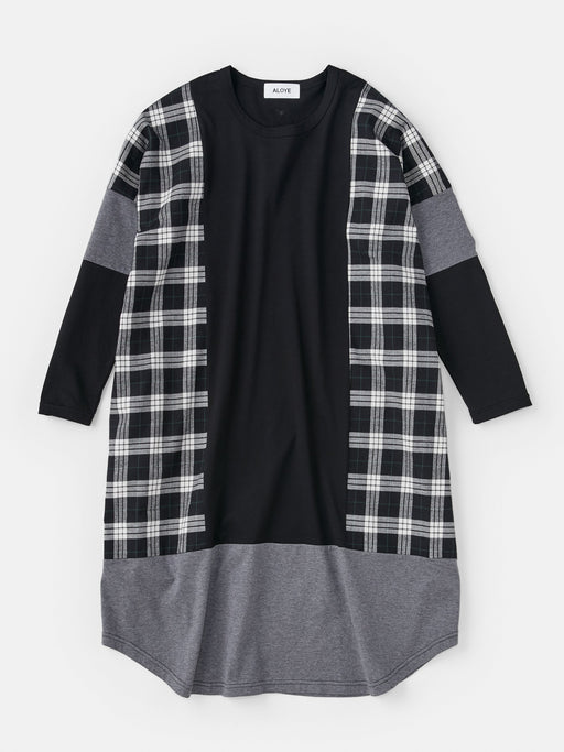 ALOYE Shirt Fabrics Women's Long Sleeve Wide T-shirt Dress Black-Black Plaid
