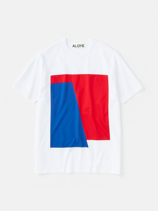 ALOYE Color Block Short Sleeve T-shirt White-Red-Blue