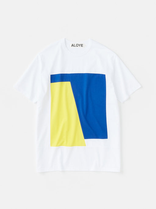 ALOYE Color Block Short Sleeve T-shirt White-Blue-Yellow