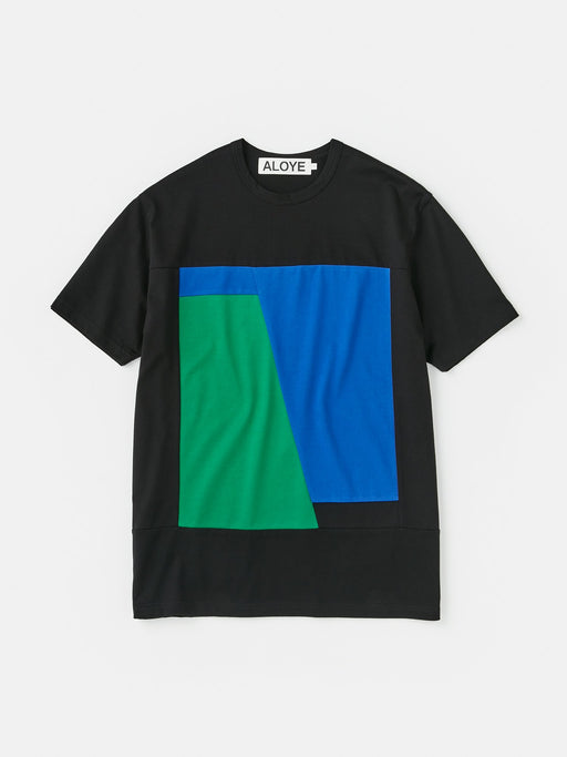 ALOYE Color Block Short Sleeve T-shirt Black-Blue-Green