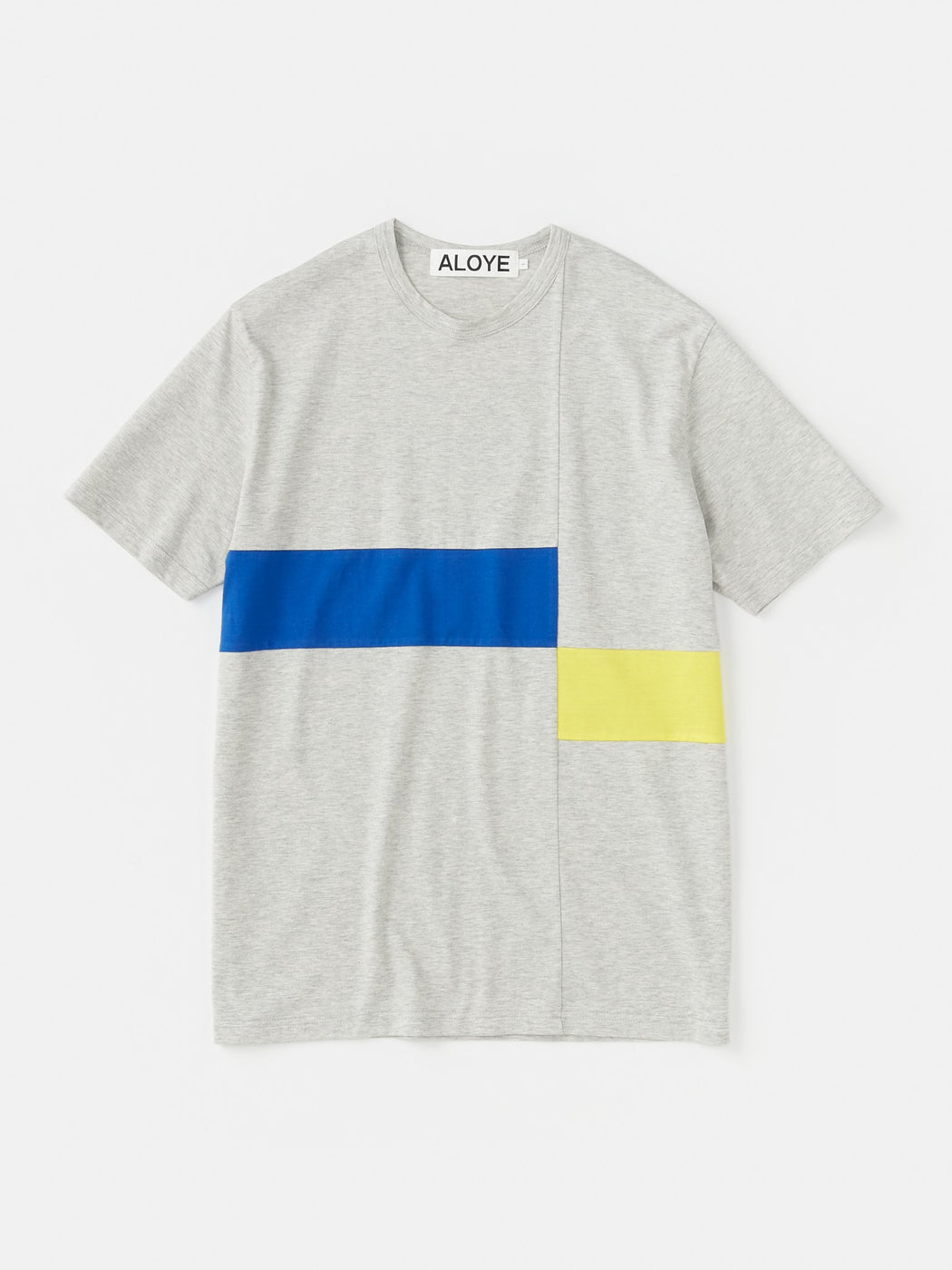 ALOYE Color Block Short Sleeve T-shirt Gray-Blue-Yellow