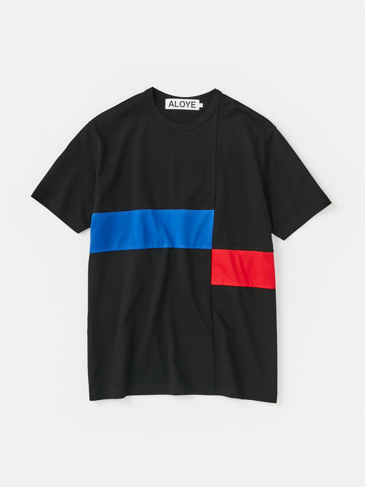 ALOYE Color Block Short Sleeve T-shirt Black-Blue-Red