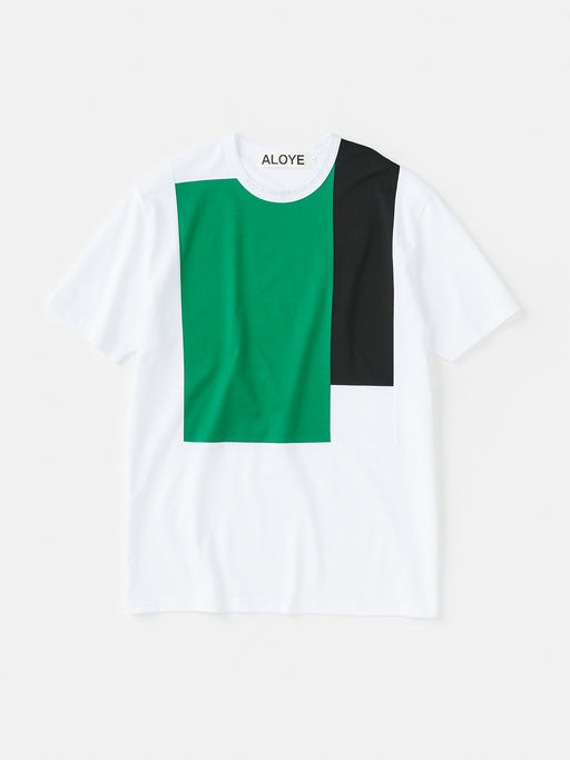 ALOYE Color Block Short Sleeve T-shirt White-Green-Black