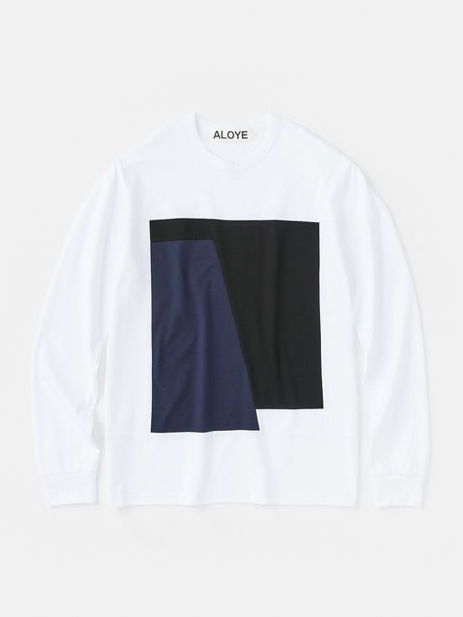 ALOYE Color Block Long Sleeve T-shirt White-Black-Navy