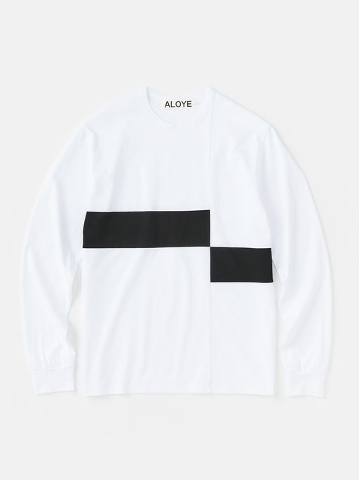 ALOYE Color Block Long Sleeve T-shirt White-Black-Black