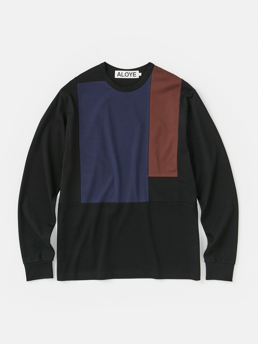 ALOYE Color Block Long Sleeve T-shirt Black-Navy-Brown