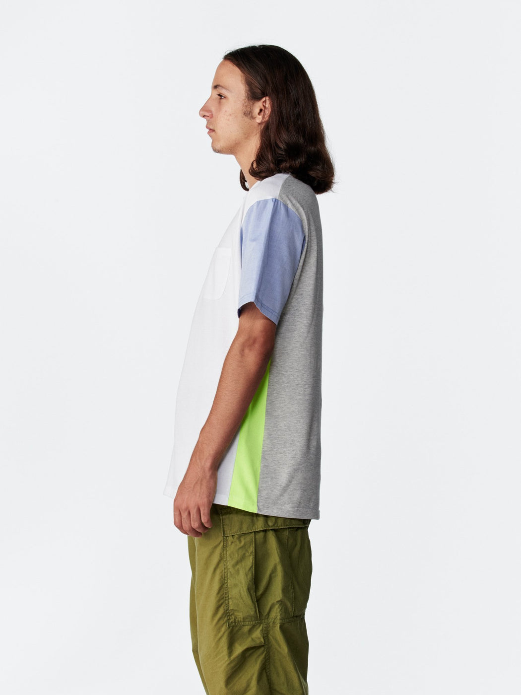 ALOYE Shirt Fabrics Short Sleeve T-shirt White-Yellow