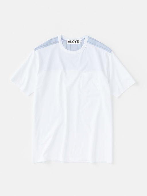 ALOYE Shirt Fabrics Short Sleeve T-shirt White-Blue Stripe