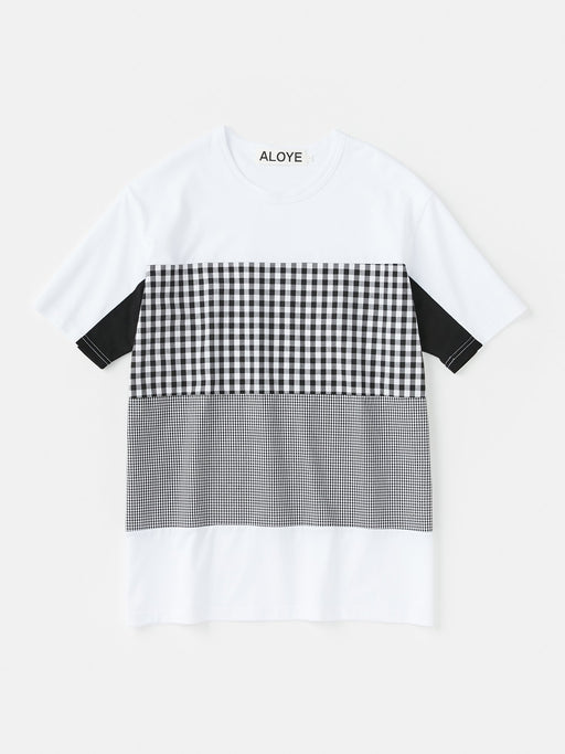 ALOYE Shirt Fabrics Short Sleeve T-shirt White-Black Gingham