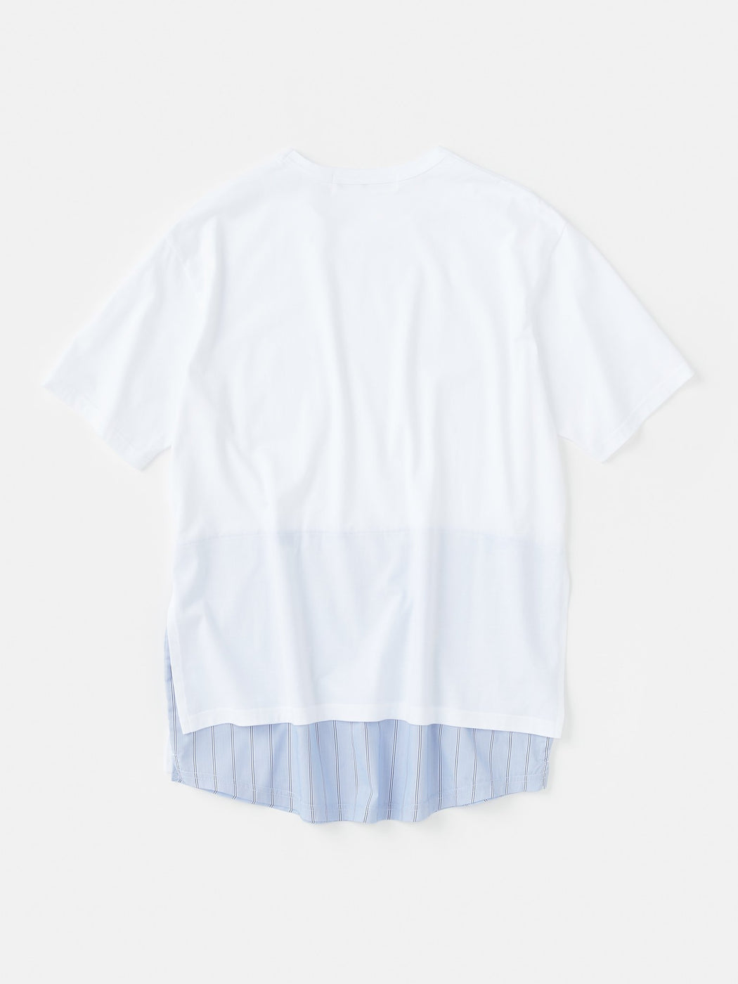 ALOYE Shirt Fabrics Short Sleeve Layerd T-shirt White-Blue Stripe