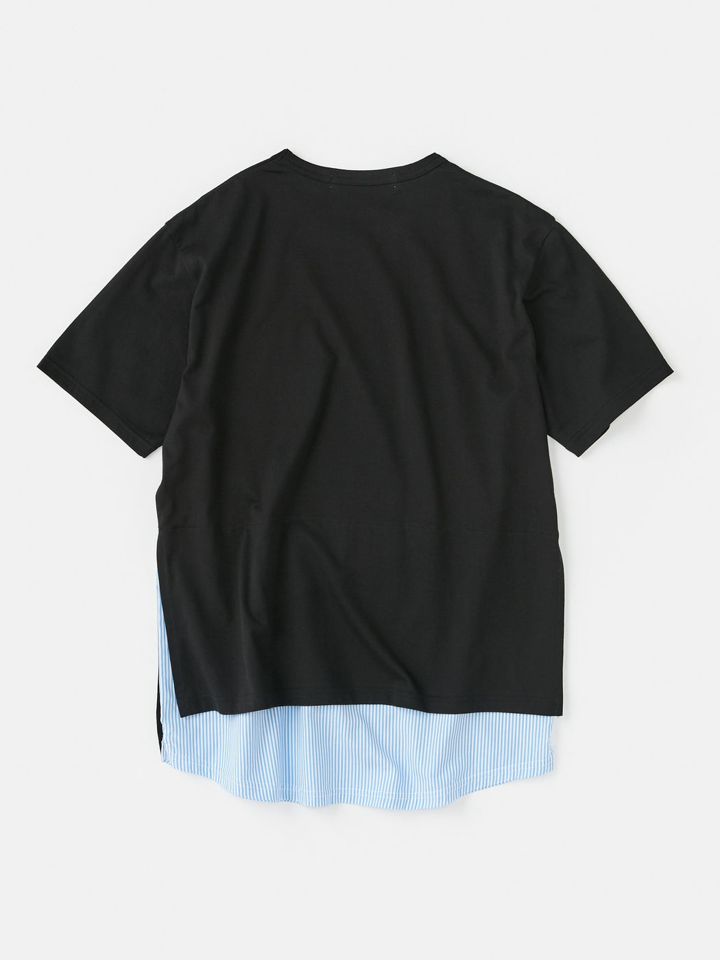 ALOYE Shirt Fabrics Short Sleeve Layerd T-shirt Black-Blue Stripe