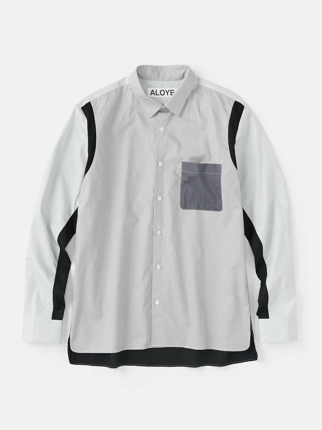 ALOYE Color Block Long Sleeve Shirt Gray
