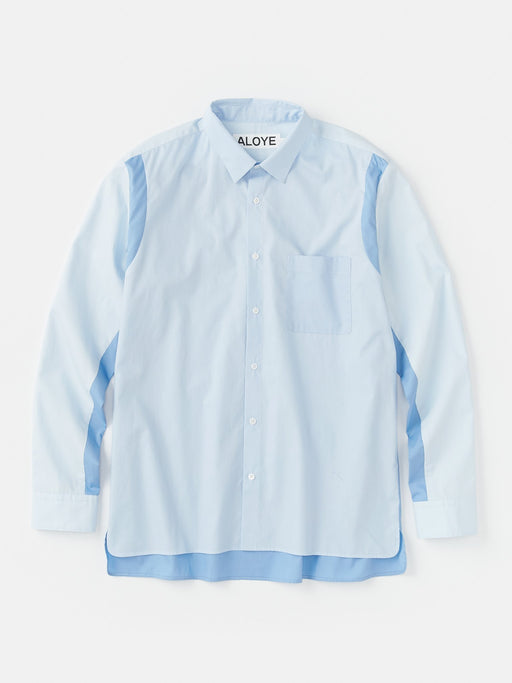 ALOYE Color Block Long Sleeve Shirt Blue
