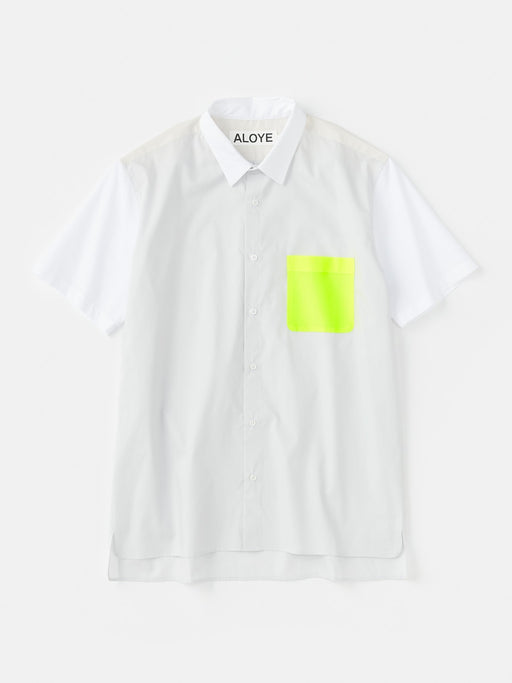 ALOYE Color Block Short Sleeve Shirt Gray-Yellow