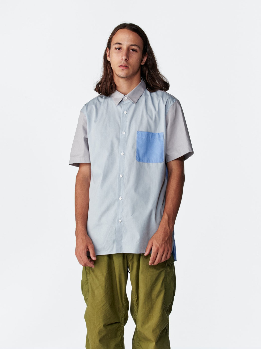 ALOYE Color Block Short Sleeve Shirt Blue-Gray