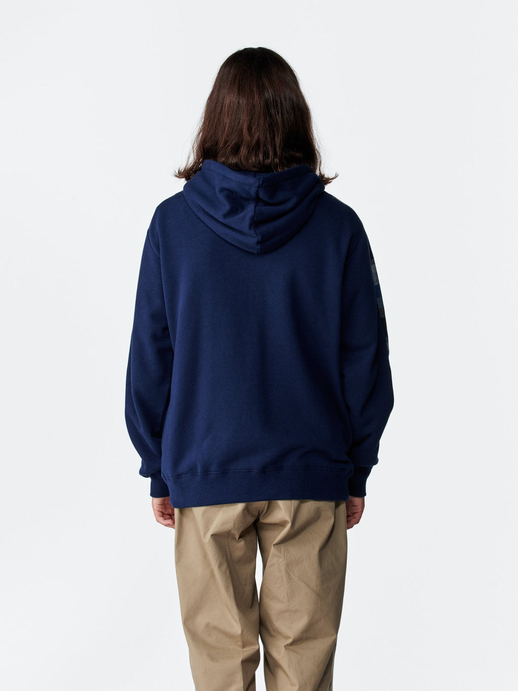 ALOYE Color Block Zip-Up Hoodie Navy-Kamedajima Stripe