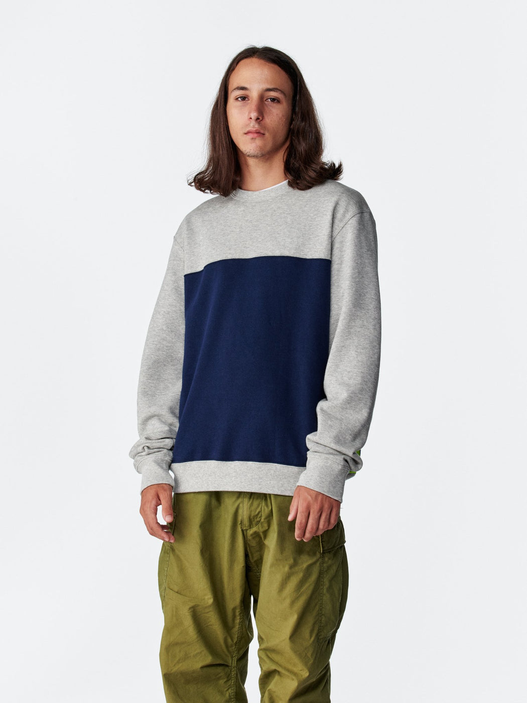 ALOYE Color Block Sweatshirt Heather Gray-Navy-Yellow