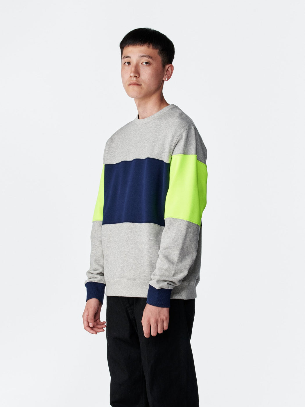 ALOYE Color Block Sweatshirt Heather Gray-Yellow-Navy