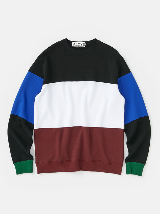 ALOYE Color Block Sweatshirt Black-White-Burgundy