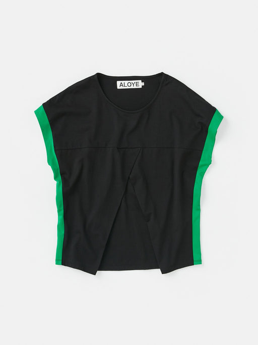 ALOYE Shirt Fabrics Women's Capped Sleeve T-shirt Black-Green