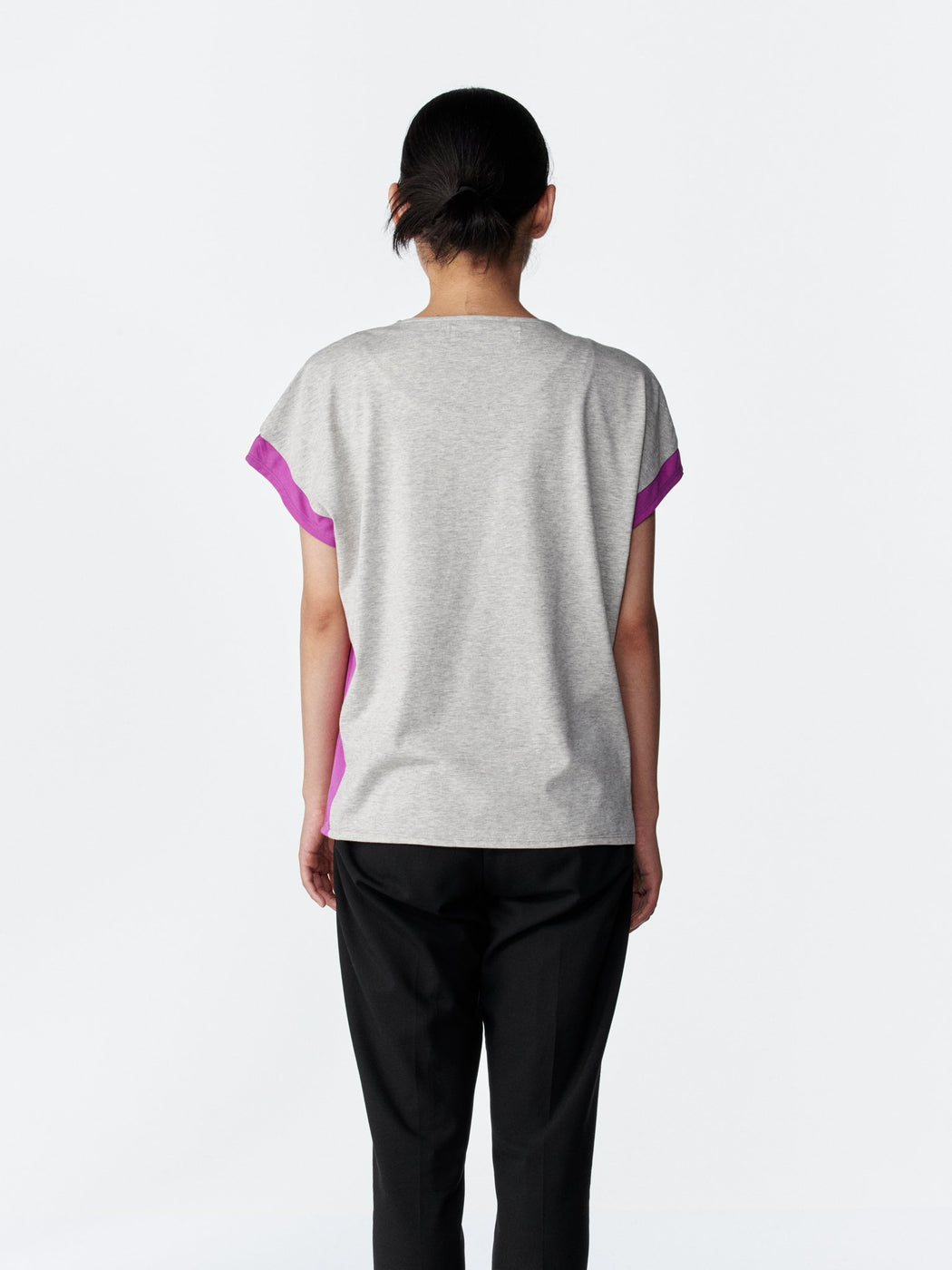 ALOYE Shirt Fabrics Women's Capped Sleeve T-shirt Heather Gray-Purple
