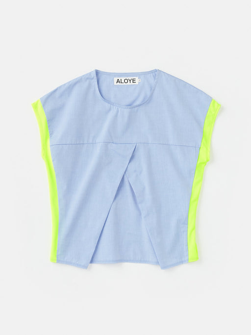 ALOYE Shirt Fabrics Women's Capped Sleeve T-shirt Blue Chambray-Yellow